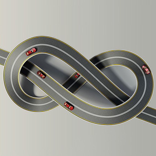 Interconnected Tangled Roads With Cars On Them